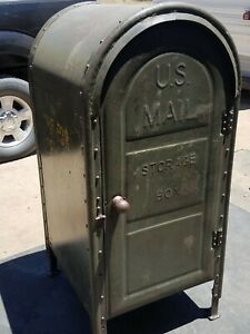 1954 Us Post Office Street Mail Collection Box Vintage Americana Antique Usa