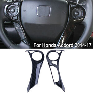 Fit For Honda Accord 2014 2017 Abs Carbon Fiber Steering Wheel Cover Trim 2x