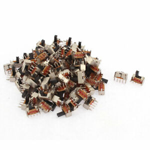 100pcs Spdt On off 3 Terminals Pcb Panel Vertical Slide Switch Diy Projects