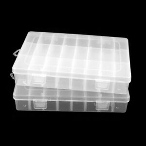 2pcs Clear White Plastic 24sections Electronic Components Storage Case Organizer