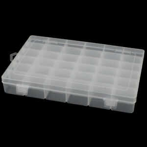 Clear White Plastic 36 Sections Electronic Components Storage Case Organizer