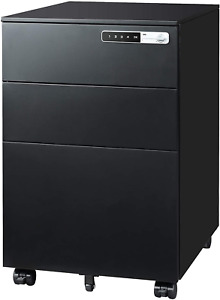 Devaise 3 drawer Mobile File Cabinet With Smart Lock Pre assembled Steel Pedest