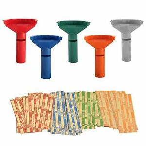 Easy Wrap 5 Coin Tubes Set With 110 Wrappers Funnel Shaped Color Coded