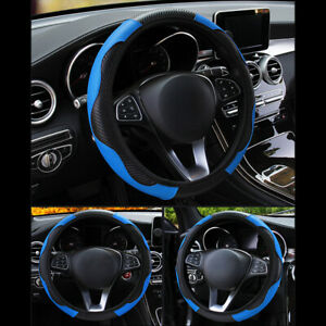 15 Universal Car Suv Steering Wheel Cover Microfiber Leather Cover Black Blue