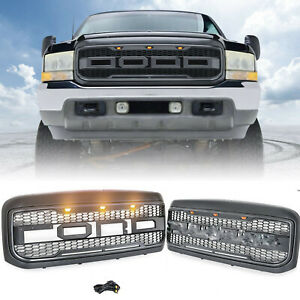Grill Fit 99 04 Ford F250 F350 Raptor Style Grille Super Duty Black W Letters