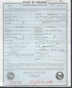 1968 Ford Xl Galaxie Xl 2 Door Hardtop Indiana Title Signed Historical Document