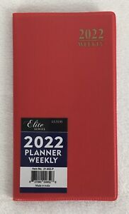 2022 Weekly Pocket Planner Agenda Calendar Appointment Book Red 3 5 x6 25