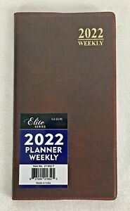 2022 Weekly Pocket Planner Agenda Calendar Appointment Book Brown 3 5 x6 25