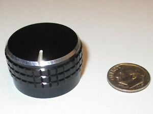 Solid Aluminum Knob For 1 4 Shaft Black silver W white Line 1 17 od Used Good