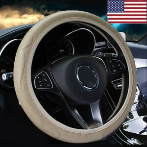 Beige Leather Car Steering Wheel Cover Breathable Anti Slip Car Accessories Us