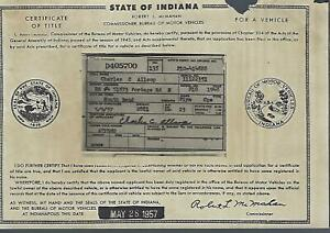 1940 Plymouth Deluxe 2 Door Coupe Indiana Title Signed Historical Document