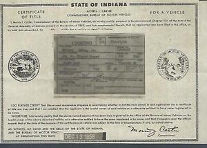 1940 Plymouth Deluxe 4 Door Sedan Indiana Title Signed Historical Document