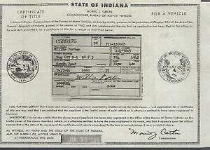 1942 Plymouth Deluxe 4 Dr Sedan Indiana Title Signed Historical Document