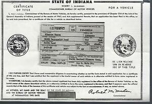 1946 Plymouth Special Deluxe 4 Door Sedan Indiana Title Historical Document