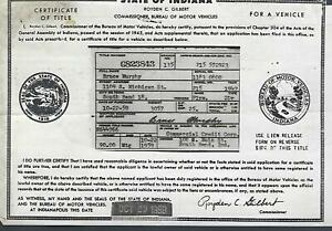 1947 Plymouth Special Deluxe 2 Door Sedan Indiana Title Historical Document