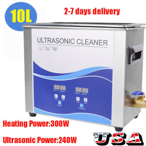 Digital 10l Stainless Steel Ultrasonic Cleaner Ultrasound Cleaning Heated Timer