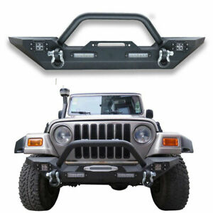 Textured Front Bumper For 87 06 Jeep Wrangler Tj Yj W Winch Plate D Ring Light