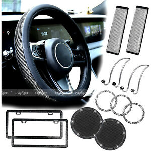 Bling Car Accessories Set For Women Girl With Steering Wheel Cover Seat Cover