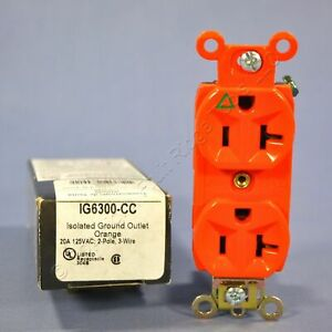 Pass Seymour Orange Isolated Ground Outlet Receptacle 20a Ig6300 cc