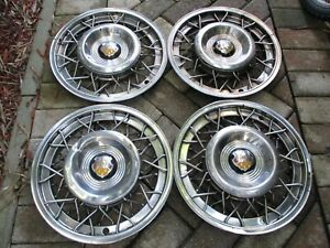 1951 1953 Oldsmobile 15 Wire Hubcaps Set Of 4 Oem