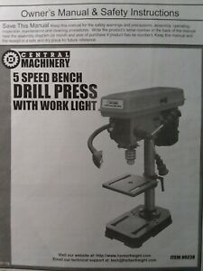 Central Machinery 5 Speed Bench Drill Press 60238 Harbor Owner Parts Manual