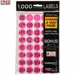 Sunburst Systems 7035 Priced Garage Sale Stickers 1 000 Count Pre printed Label