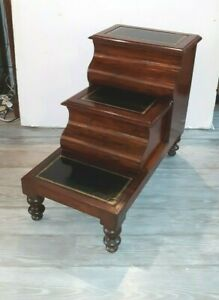 Antique Empire Library Steps Mahogany With Leather Top