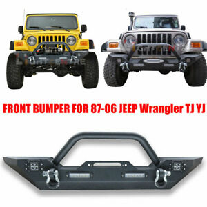 Front Bumper W Winch Plate Led Light D Rings For 1987 2006 Jeep Wrangler Tj Yj