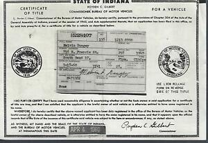 1949 Plymouth Deluxe 2 Door Club Coupe Indiana Title Signed Historical Document