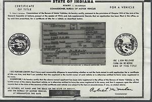 1950 Plymouth Deluxe 2 Door Club Coupe Indiana Title Signed Historical Document