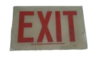 Vintage Glass Exit Red Letter Sign Western Fluorescent Light Company 6 3 8 X 10