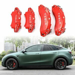 Caliper Covers For Tesla Model Y 19 20in Car Callipers Stainless Steel Red 4pcs