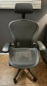 Herman Miller Aeron Office Chair Size B Black With Headrest And Lumbar