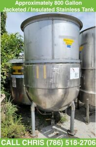 Approx 800 Gallon Stainless Steel Jacketed Insulated Tank