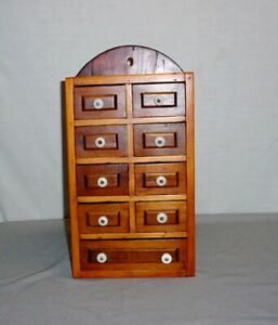 Vtg Home Made Wooden Spice Cabinet Box Apothecary Chest 9 Drawer Porcelain Knobs
