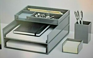 5 piece Desk Organizer Set With Antimicrobial Treatment Gray