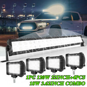 120w 22 Led Light Bar Spot Flood Combo 4x 4 Pods Offroad For Jeep Truck Suv