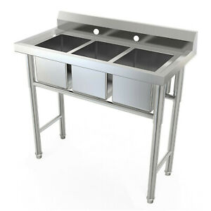 38 Commercial Free Standing Sink 3 Compartment Kitchen utility stainless Steel