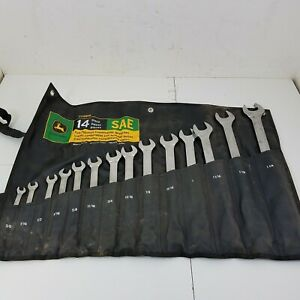 John Deere Ty19976 14 Piece Sae Full Polished Combination Wrenches Set With Pouch
