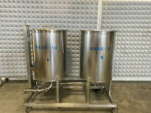 Twin Stainless Steel 250 Liter Process Tanks On Rolling Cart W 1 1 2 Sanitary