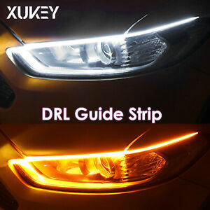 2x 17 8 Drl Led Headlight Strip Light Daytime Running Sequential Signal Lamp