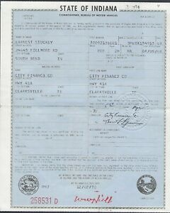 1963 1 2 Ford Galaxie 500xl Fastback 2 Door Hardtop Indiana Car Title Document