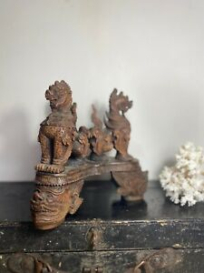 Burmese Asian Colonial Three Lions Carving With Stand Burmese Wood Carving