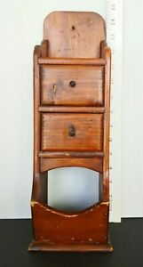 Vintage Spice Apothecary Pine Wall Shelf 2 Drawers Open Cubby Na Ve Primitive