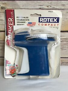 Vintage Rotex Compact Rotary Blue Label Maker 3 8 Tape W Open Package