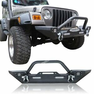 Front Bumper For 1987 2006 Jeep Wrangler Tj Yj W Winch Plate Led Light D Rings