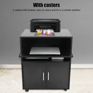 Home Office File Cabinet Mobile Printer Stand With Storage Shelf