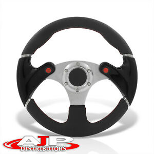 Black Pvc Stitch Aluminum Steering Wheel Red Buttons Horn Universal 320mm 13