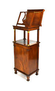 Fabulous Antique Neoclassical Flame Mahogany Music Cabinet Easel Stand