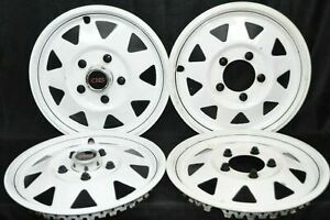 1970 s White Gs Del met Hubcaps Trailer 15 Gm Camper Rv Mag Style Set Of 4